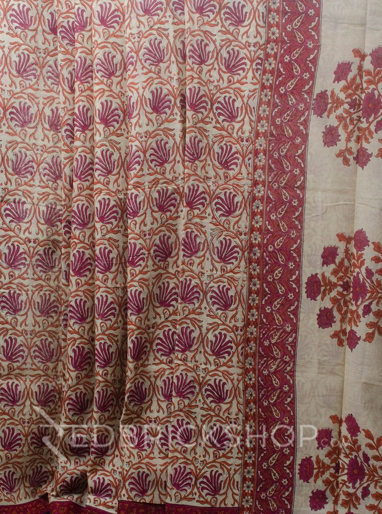 BLOCK PRINT LOTUS MAGENTA COTTON SAREE