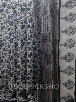 BLOCK PRINT HIBISCUS BLUE COTTON SAREE