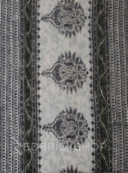BLOCK PRINT HIBISCUS GREY COTTON SAREE