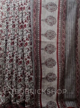 BLOCK PRINT HIBISCUS MAROON COTTON SAREE
