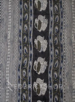 BLOCK PRINT PANSY GREY COTTON SAREE