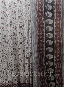 BLOCK PRINT PANSY MAROON COTTON SAREE