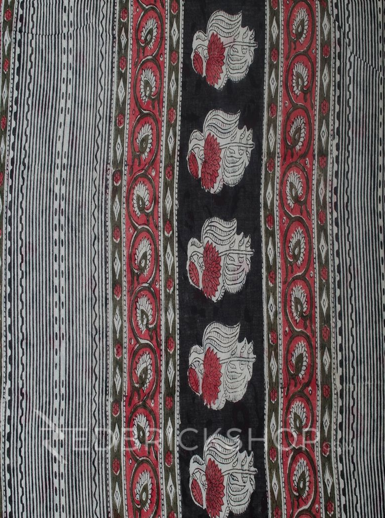 BLOCK PRINT PANSY ROSE COTTON SAREE