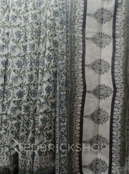 BLOCK PRINT CARNATION GREY COTTON SAREE
