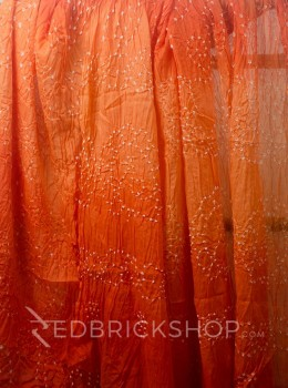 TIE N DYE ORANGE COTTON SAREE