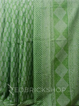 BLOCK PRINT PAISLEY GREEN COTTON SAREE