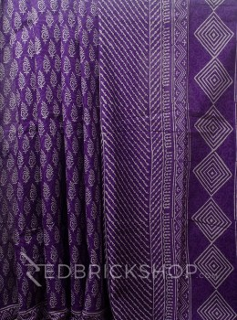 BLOCK PRINT PAISLEY PURPLE COTTON SAREE