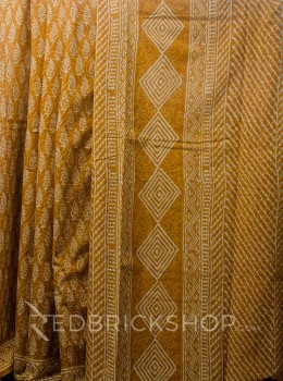 BLOCK PRINT PAISLEY MUSTARD COTTON SAREE