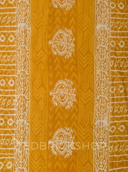BLOCK PRINT TREE MUSTARD COTTON SAREE