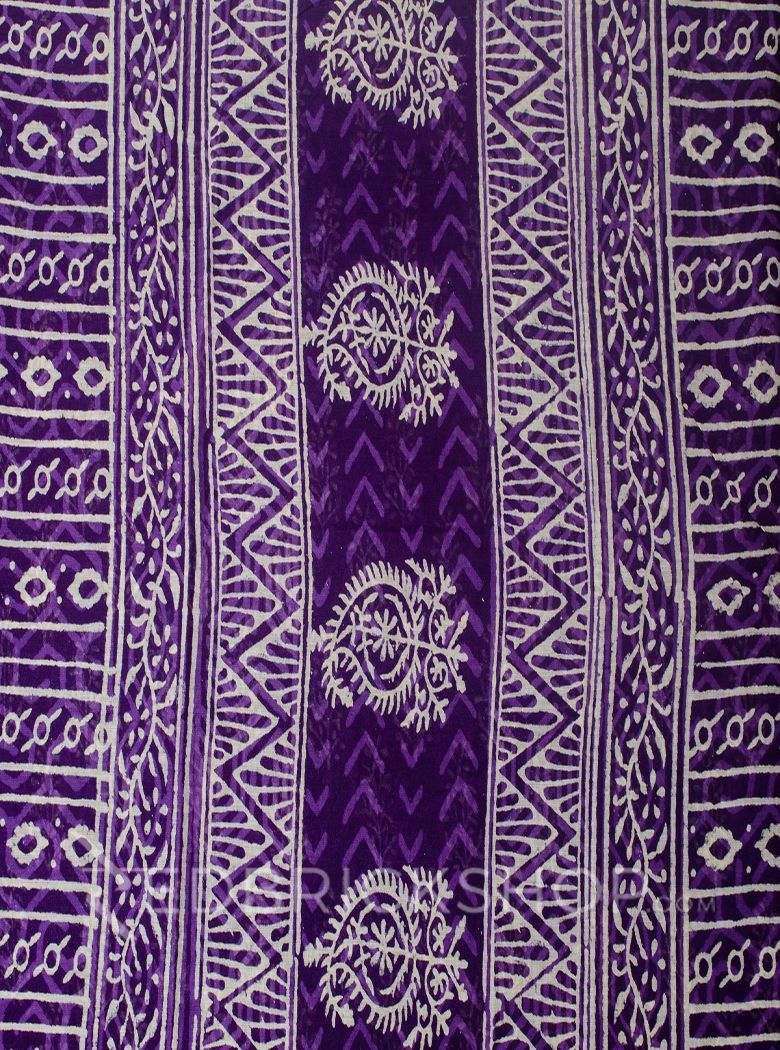 BLOCK PRINT TREE PURPLE COTTON SAREE