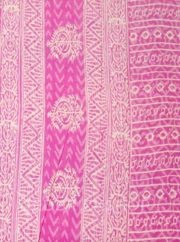 BLOCK PRINT TREE PINK COTTON SAREE