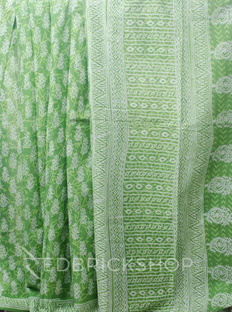 BLOCK PRINT TREE GREEN COTTON SAREE