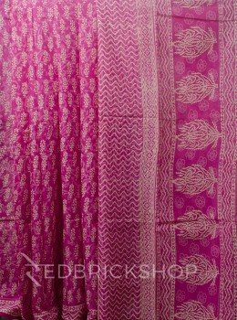 BLOCK PRINT FLORAL PINK COTTON SAREE