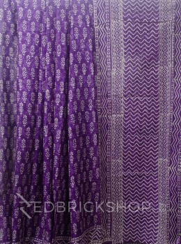 BLOCK PRINT FLORAL PURPLE COTTON SAREE