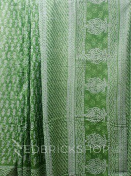 BLOCK PRINT FLORAL GREEN COTTON SAREE