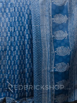 BLOCK PRINT FLORAL BLUE COTTON SAREE