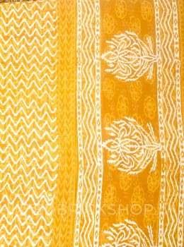 BLOCK PRINT FLORAL MUSTARD COTTON SAREE