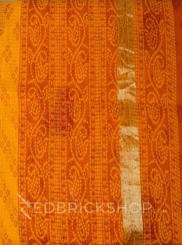 BANDHEJ SQUARE SAFFRON COTTON KOTA SAREE