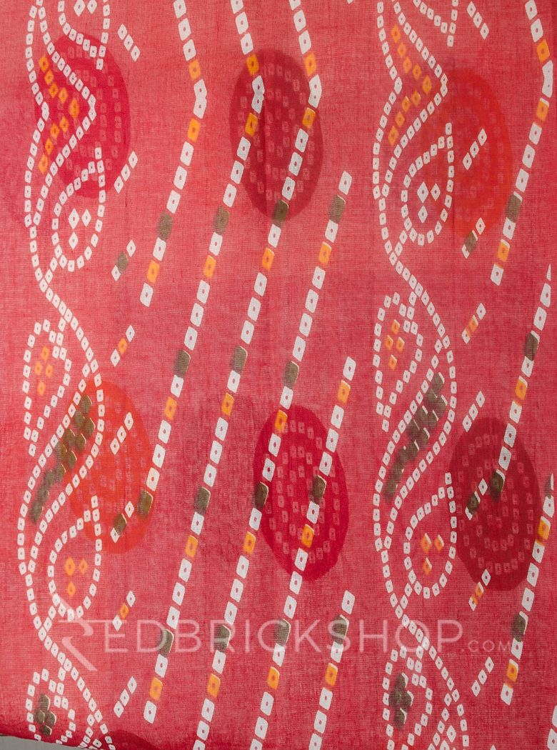 BANDHEJ CIRCLE RED COTTON SAREE