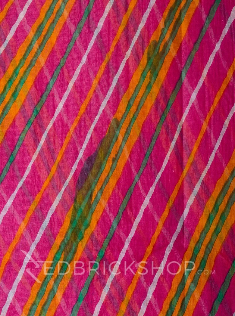 DOUBLE LEHERIYA FUSCHIA COTTON SAREE