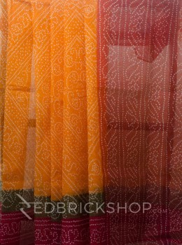 BANDHEJ PRINT ORANGE COTTON KOTA SAREE