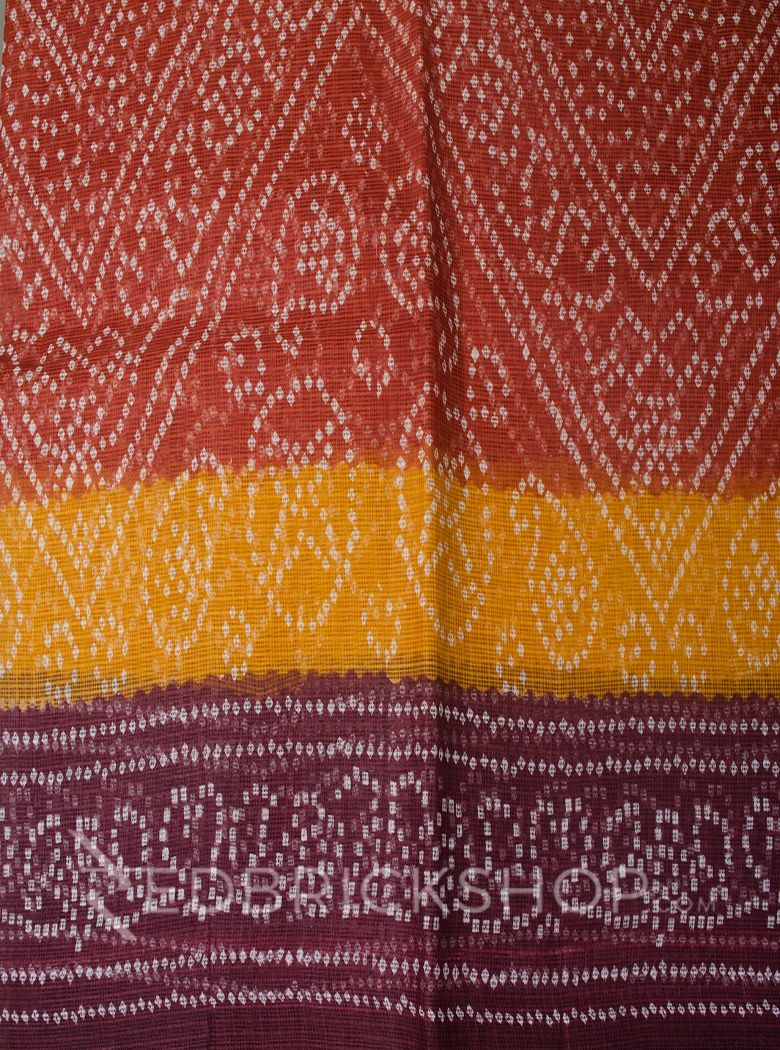BANDHEJ PRINT RUST COTTON KOTA SAREE