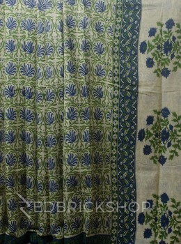 BLOCK PRINT LOTUS INDIGO COTTON SAREE