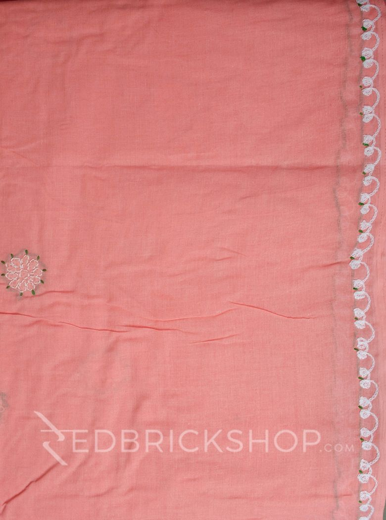 CHIKAN CHAIN FLORAL ROSE COTTON SAREE
