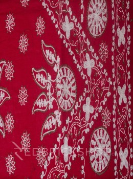 CHIKAN CHAIN FLORAL RED COTTON SAREE