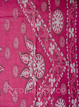 CHIKAN CHAIN FLORAL PINK COTTON SAREE