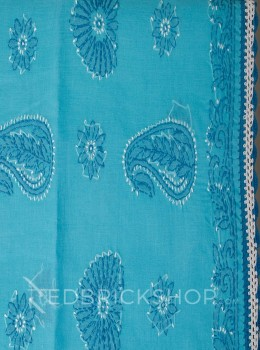 CHIKAN CROCHET AQUAMARINE COTTON SAREE