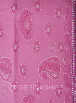 CHIKAN CROCHET PINK COTTON SAREE