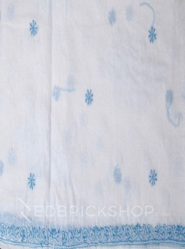 CHIKAN FLORAL FLOWER WHITE-BLUE COTTON SAREE