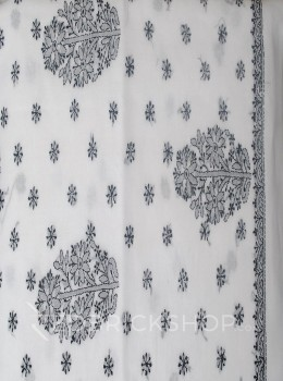 CHIKAN FLORAL FLOWER WHITE-BLACK COTTON SAREE