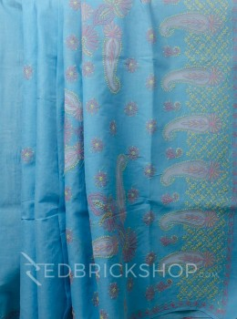 CHIKAN JAALI CROSS BLUE COTTON SAREE