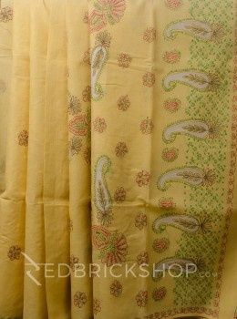 CHIKAN JAALI CROSS MUSTARD COTTON SAREE