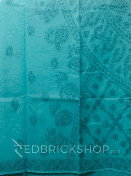 CHIKAN FLORAL CORNER AQUAMARINE COTTON SAREE