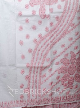 CHIKAN FLORAL WHITE-ROSE COTTON SAREE