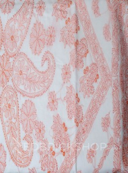 CHIKAN FLORAL WHITE-PEACH COTTON SAREE