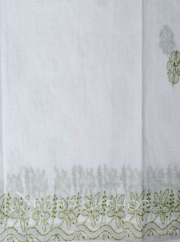 CHIKAN FLORAL WHITE-OLIVE COTTON SAREE