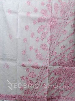 CHIKAN FLORAL WHITE-PINK COTTON SAREE