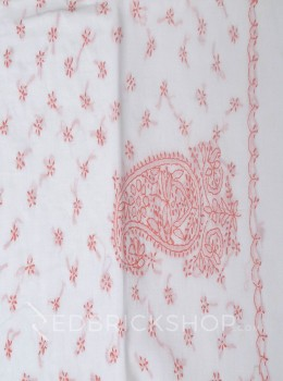 CHIKAN PAISLEY TARA WHITE-ROSE COTTON SAREE