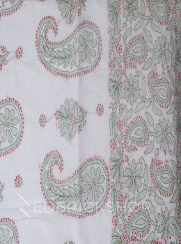 CHIKAN PAISLEY WHITE-RED-OLIVE COTTON CHANDERI SAREE