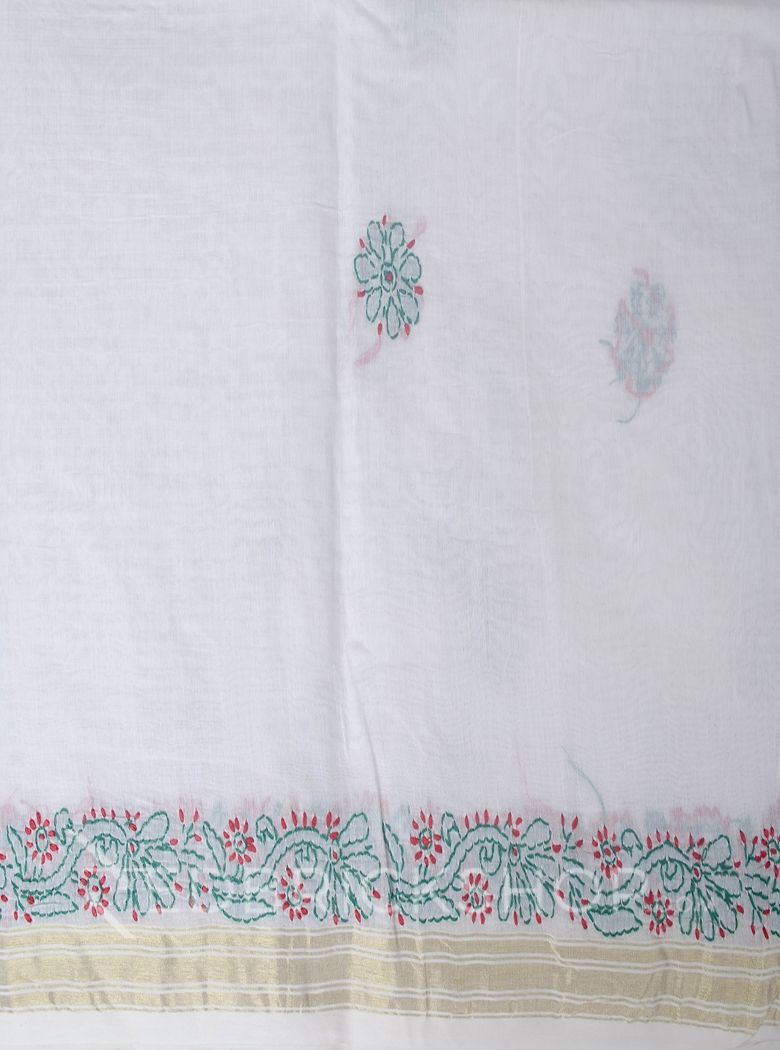 CHIKAN PAISLEY WHITE-RED-BOTTLE GREEN COTTON CHANDERI SAREE