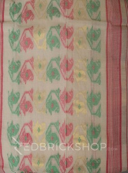 DHAKAI GEOMETRIC OFF WHITE-RED-GREEN MUSLIN SAREE