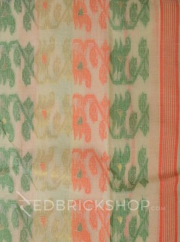 DHAKAI GEOMETRIC CREAM-ORANGE-GREEN MUSLIN SAREE
