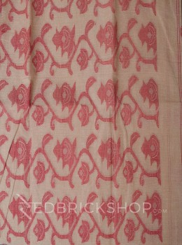 DHAKAI FLORAL CREAM-RED MUSLIN SAREE