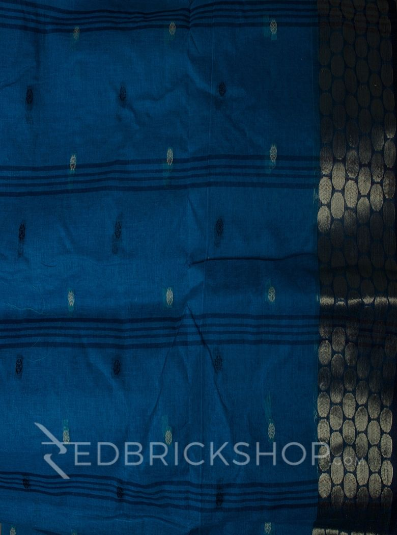 TANGAIL ZARI TEAL COTTON SAREE