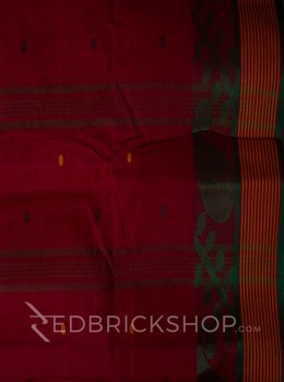 TANGAIL LEAF RED COTTON SAREE