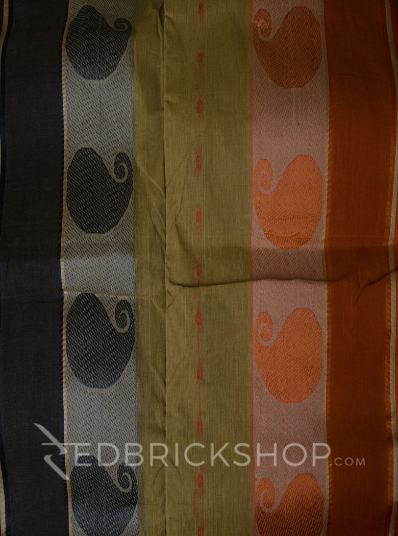 TANGAIL GANGA-JAMUNA BEIGE-ORANGE-GREY COTTON SAREE